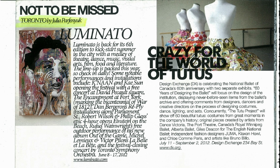 Not to be missed - luminato, the tutu project