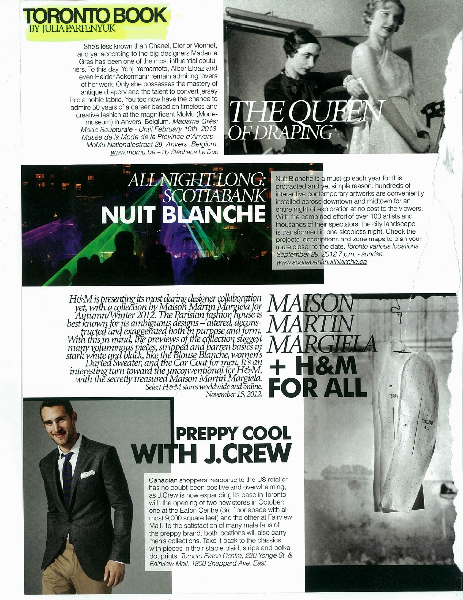 Toronto events book - nuit blanche, mmm, jcrew