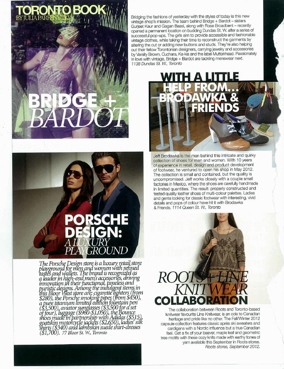 Toronto fashion book - bridge + bardot
